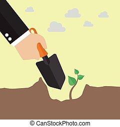 arbre plantant, main
