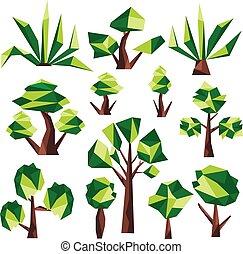 arbre, poly, art, bas, agrafe