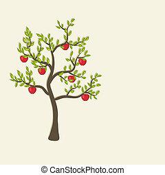 arbre, pomme, fond