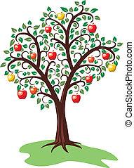 arbre, pomme, fruits