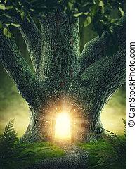 arbre, porte