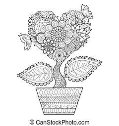 arbre, pot, coeur
