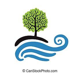 arbre, près, les, eau, vecteur, logo