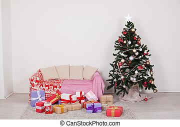arbre, présente, lumières, année, nouveau, noël