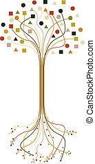 arbre, résumé, ensemble, branches, racines