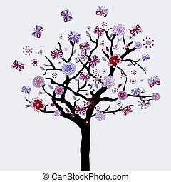 arbre, résumé, fleurs, papillons, floral