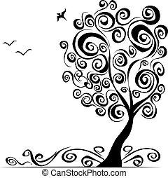 arbre, résumé, vect, fond