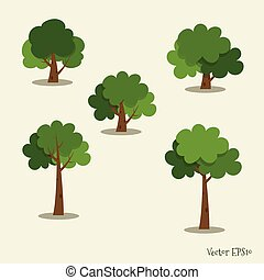 arbre., résumé, vecteur, ensemble, illustration