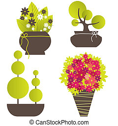 arbre, résumé, vecteur, flowers., illustration