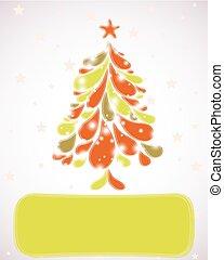 arbre., résumé, vecteur, noël, fond