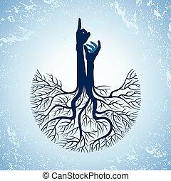 arbre, racines, main