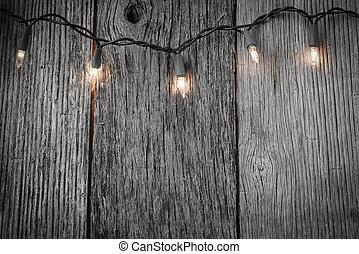 arbre, rustique, lumières, bois, fond, noël blanc