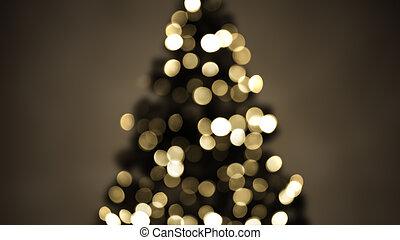 arbre, sépia, lumières, noël, brouillé