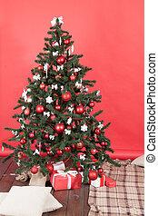 arbre, salle, rouges, noël