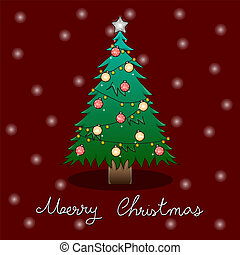 arbre, salutation, neige, carte, fond, noël blanc, rouges