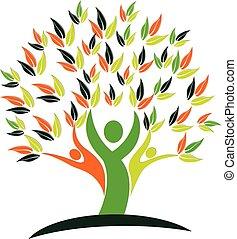 arbre, santé, nature, gens, logo