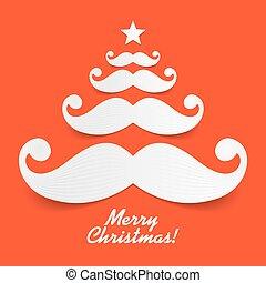 arbre, santa, moustache, noël
