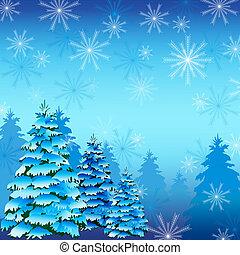 arbre sapin, hiver, fond, flocons neige