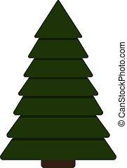 arbre sapin, isolé, illustration, arrière-plan., vecteur, noël blanc