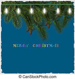 arbre sapin, lumières, branche, noël carte