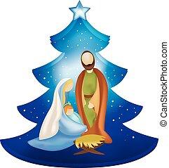 arbre, scène, isolé, nativité, mary, joseph, bras, bébé jésus, noël