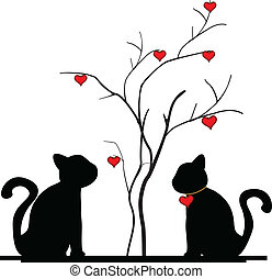arbre, silhouette, amour, chat