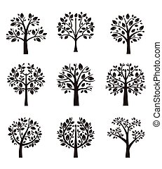arbre, silhouette, branches, racines