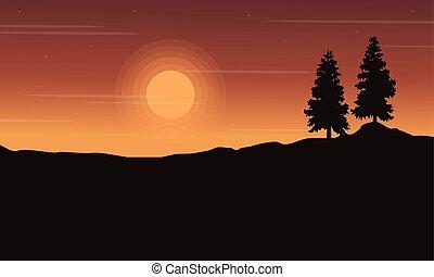 arbre, silhouette, colline, paysage