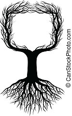 arbre, silhouette, espace