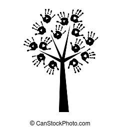 arbre, silhouette, handprints