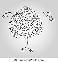 arbre, silhouette, illustration