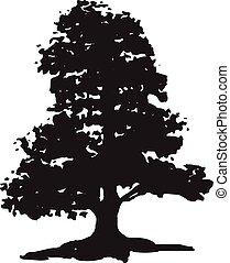 arbre, silhouette, isolé, fond, noir