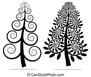 arbre, silhouette, noël