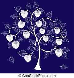 arbre, silhouette, pomme