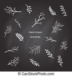 arbre, silhouettes, branches, dessiné, main
