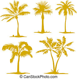 arbre, silhouettes, ensemble, paume