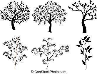 arbre, silhouettes, vecteur, ensemble