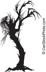 arbre, sinistre, silhouette