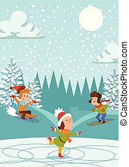 arbre, snowballs., année, girl, enfants, hiver, neige, ...