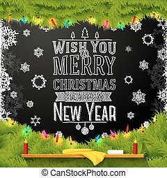 arbre soigné, école, heureux, joyeux, souhait, nouveau, chalkboard., noël, message, décoré, fur., année, vous, écrit