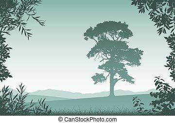 arbre, solitaire, paysage