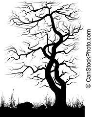 arbre, sur, vieux, herbe, arrière-plan., silhouette, blanc