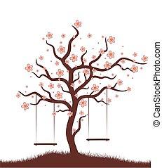arbre, swing.