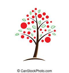 arbre, symbolique, pomme, illustration