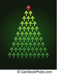 arbre, thème, noël, business, flèche