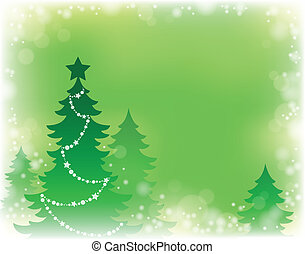 arbre, thème, silhouette, noël, 3