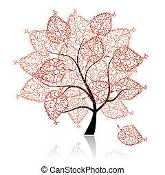arbre, ton, art, conception, beau