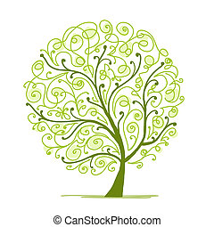 arbre, ton, art, vert, conception