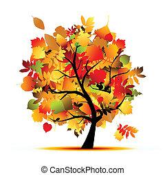 arbre, ton, conception, automne, beau