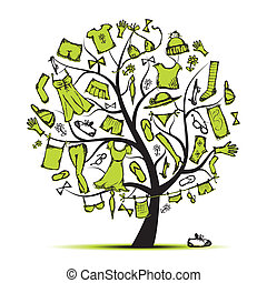 arbre, ton, garde-robe, conception, vêtements